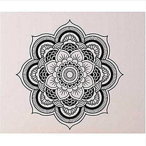 Pegatinas de Pared,Personalidad,dormitorio chico y chica DIY,Innovador,extraíble,reutilizable,Mandala Yoga Ornament n Buddha Decal Art Sticker Lotus Flower Living Room Decor 42 * 42Cm
