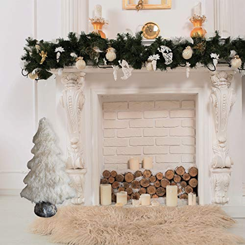 Fraser Hill Farm 32-in. White Furry Tree with Faux-Bark Trunk, Festive Indoor Christmas Decoration, FHFTREE032-WHT1