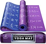 "Instructional Yoga Mat with Carrying Strap: Cute Yoga Mat with 75 Illustrated Yoga Poses + 75 Easily-Followed Stretching Exercises - 1/4"" Thick, Non-Toxic, Non-Slip Yoga Mats for Women and Men"