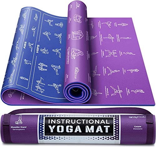 Instructional Yoga Mat with Carrying Strap: Cute Yoga Mat...