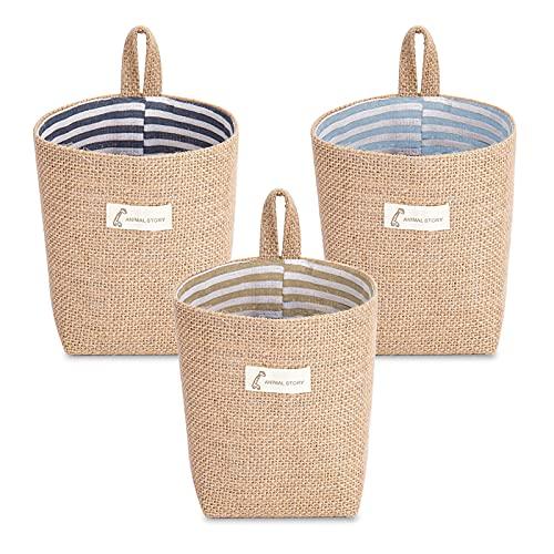 Keleily Wisząca torba do przechowywania, 3 szt. bawełniana torba na kosz do przechowywania, składany kosz do przechowywania torba z uchwytem mały składany bawełniany kosz do przechowywania przyborów toaletowych drobiazgów zabawki Jewerly