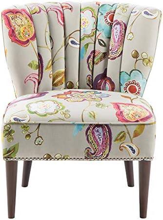 Best Madison Park Korey Accent Chairs - Hardwood, Birch Wood, Fabric Living Room Chairs - Khaki, Purple,