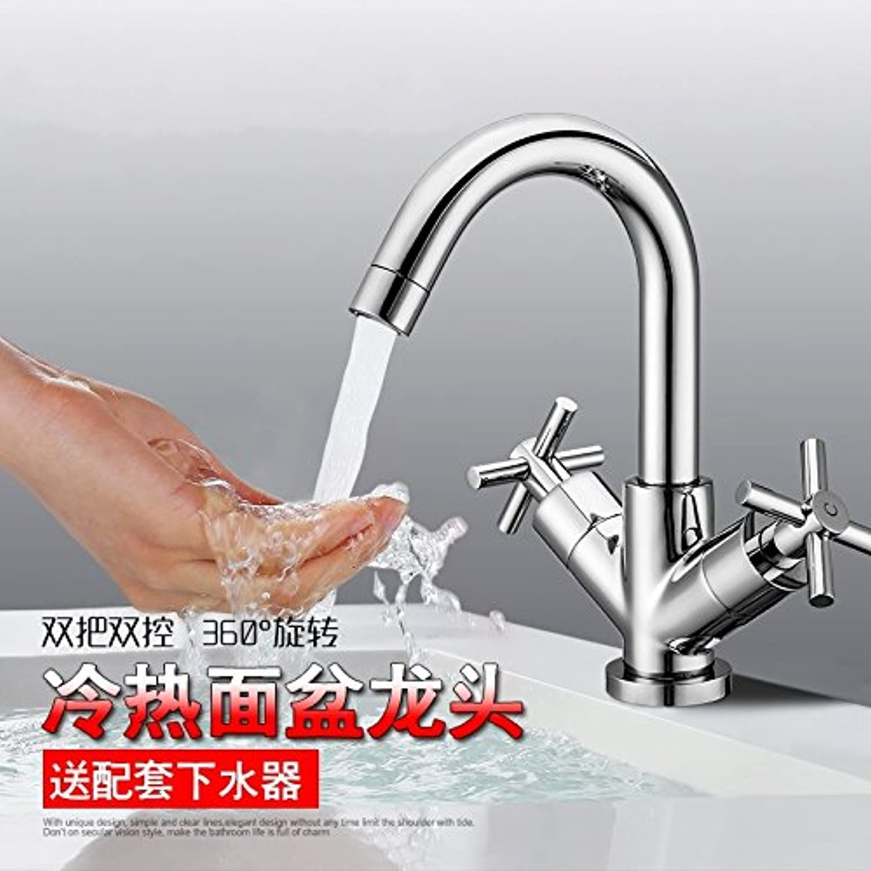 CZOOR Waschbecken-Mischer-Hahn Distinctive dreht Chrom-Badezimmer aus massivem Messing Zwei Griff Doppelsteuer Bassin-Hahn-Mischer-Hahn-Toilette