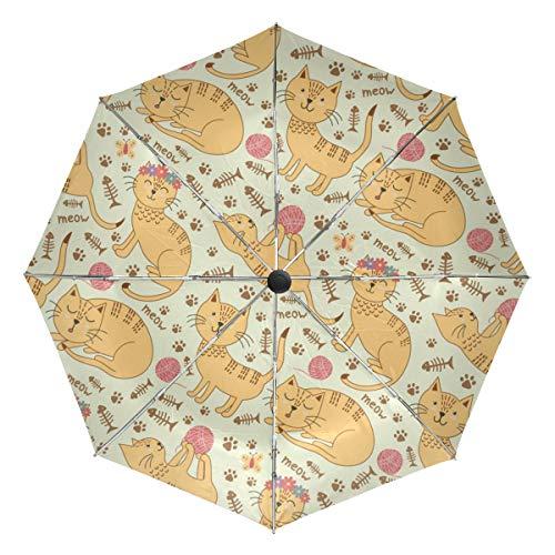 Lenenl Pages Winddichter Reise-Regenschirm, automatisches Öffnen und Schließen, leicht, kompakter UV-Schutz