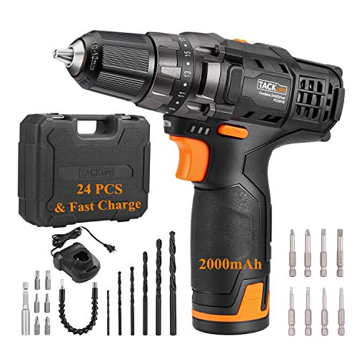 TACKLIFE 12V 2.0Ah Cordless Drill, 240 In-lbs with 19+1 Torque Setting, 1 Hour Fast Charger, Variable Speed, 3/8' Metal Chuck, 24pcs & Tool Bag Included - PCD01B