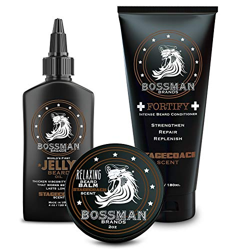 Bossman Essentials Beard Kit - Beard Oil, Conditioner, and Balm (Stagecoach)