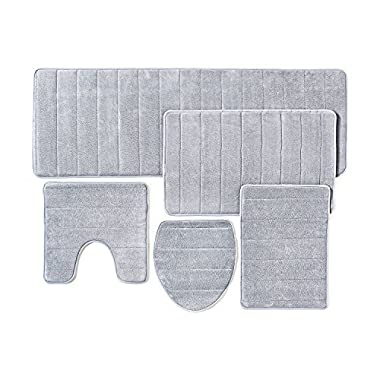 Bathroom Rug Mat, 5-Piece Set Memory Foam, Extra Soft Non-Slip Back (Grey)
