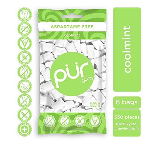 PUR 100% Xylitol Chewing Gum, Coolmint, Sugar-Free + Aspartame Free, Vegan + non GMO, 55 Count (Pack of 6)