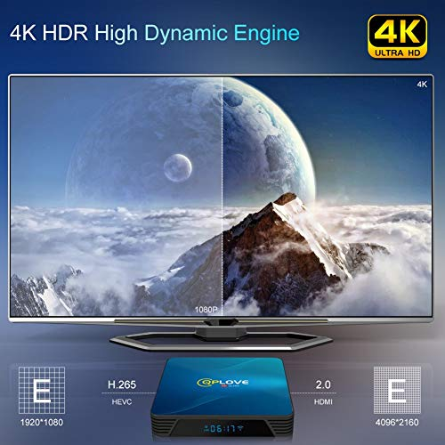 4GB 128GB TV-Box Android 10.0 QPLOVE Smart 4K Android TV-Box RK3318 Quad-Core 64-Bit Cortex-A53 WiFi 2.4G 5G Bluetooth 4.0 USB3.0 Ethernet 100M Android Box