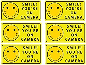 Sutter Signs Smile You`re On Camera Security Stickers Indoor & Outdoor 4-inch by 2-inch (Pack of 6)