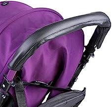 Atyhao Armlehne, Griff für Baby, Kinderwagen, Griffe, Universal-Deckel, Staubschutz, Abdeckung aus PU-Leder, Schwarz mit Reißverschluss