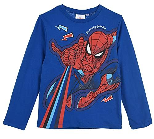 Spiderman Niños Camiseta de Manga Larga (Azul,3 años)