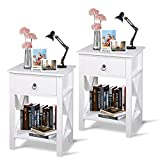 Night Stands for Bedrooms Set of 2, Goecixu Wooden Bedside Table with Drawer & Storage Shelf, Modern End Table Side Table for Living Room/Hallway/Office/Home Furniture
