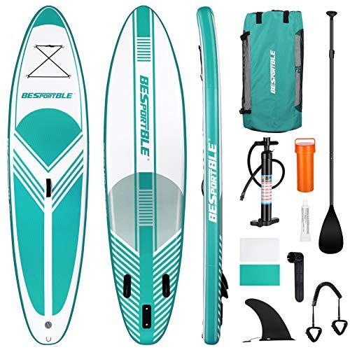 BESPORTBLE Tabla de Surf Inflable Tabla de Padel de Pie Tabla de Padel Manual de La Bomba de La Correa Mochila Tabla de Surf de Agua para Jóvenes Y Adultos (Azul- Verde)