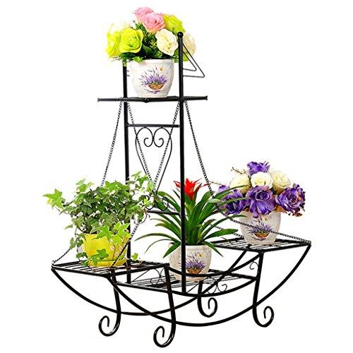 Support de fleur en fer forgé support de pot de fleur de quatre-couche balcon de salon d'intérieur et extérieur étagère créative de voilier cerise verte ( Color : Black )