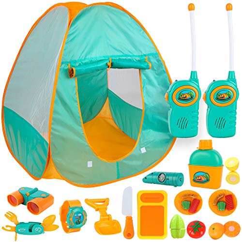 ToyVelt Kids Camping Tent Set -Includes Tent, Telescope, 2 Walkie Talkies, and Full Camping Gear Set Indoor and Outdoor Toy - Best Present for 3 4 5 6 Year Old Boys and Girls and Up. Updated Version