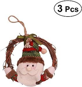 BESTOYARD 3pcs Suspension Noël Couronne Porte Noel Père Noël Deco Suspendu Noel Sapin a Suspendre