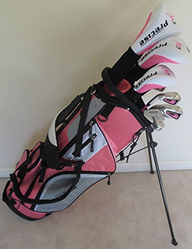 Ladies Left Handed Golf Set - Complete Driver, Fairway Wood, Hybrid, Irons, Putter, Clubs and Stand Bag Pink Graphite