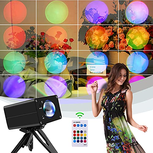 Sunset Projection Lamp, 16 Colors Rainbow Light USB Charging Led Sunrise Night Lights with Remote...