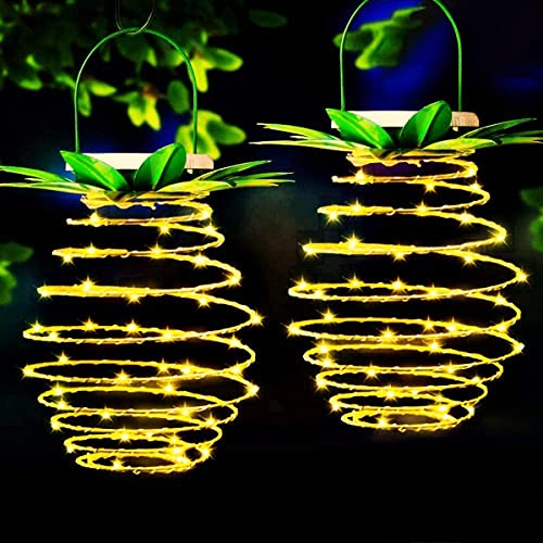 MZD8391 2Pack 60LED Pineapple Solar Lights Outdoor, Waterproof Hanging Solar Lantern, Dusk to Dawn Sensor Solar Lights for Yard Garden Driveway Porch Walkway Patio Decoration, Warm White (Upgraded)