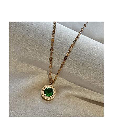 Romeinse cijfers groen zirkoon sleutelbeen keten ketting vrouwelijke wild tij sieraden ketting