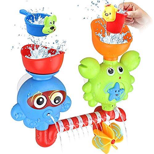 Toy Jouets pour Le Bain, Jouets Baignoire pour 1 2 3 Ans Enfants en Bas Âge Mur Bath, Cascade Fill Spin and Flow, en Bas Âge Puzzles Jouet, Non Toxique Cadeau d'anniversaire