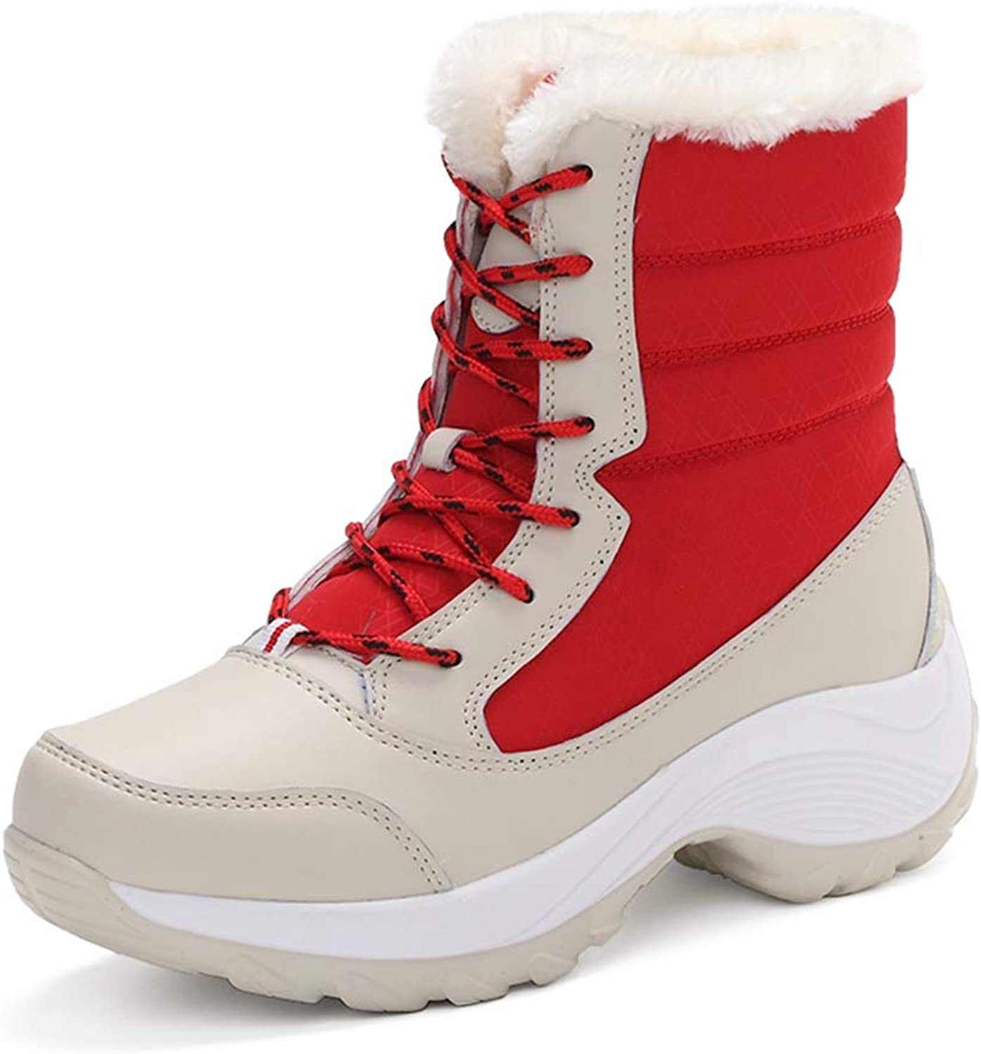 GIY Women's Winter Waterproof Fur Lined Snow Boots Non-Slip Winter Warn Platform Outdoor Ankle Boots