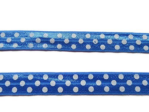 YYCRAFT 5/8' Fold Over Elastic Stretch Foldover FOE Elastics with Polka Dots for Hair Ties Headbands Sewing Craft(10Yards,Royal with White Dots)