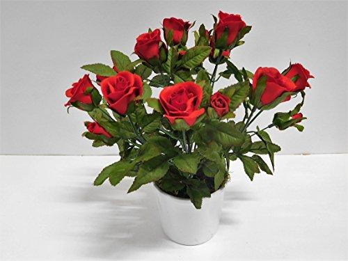Ziegler Rosenbusch Rosenstamm Dekopflanze Kunstpflanze H 28 cm getopft 20299-3 F69 (rot)