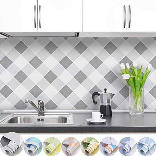 iKINLO Selbstklebend Folie Fliesen Klebefolie Küchenrückwand Folie Fliesen Küchenfolie PVC Fliesenaufkleber für Küchen Bädern Wand Dekorfolie 0.61 * 5M