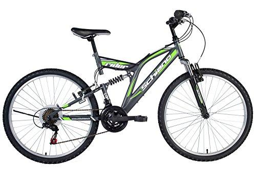 F.lli Schiano Rider Shimano Bici Biammortizzata 18 velocità, Antracite/Verde, 26'