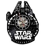 Reloj de pared de Star Wars dibujado en vinilo, hecho a mano, negro