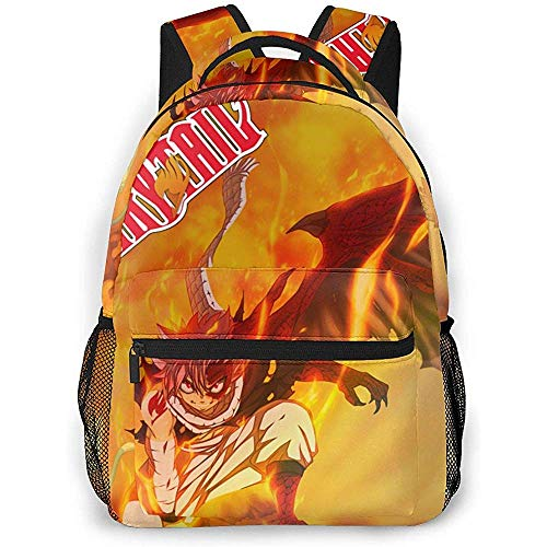 Sac À Dos,Fairy Tail Backpcak Etherious Natsu Dragneel School Bag Attractive Student Backpacks for Adults Climbing Traveling 40cm(H) x29cm(W)