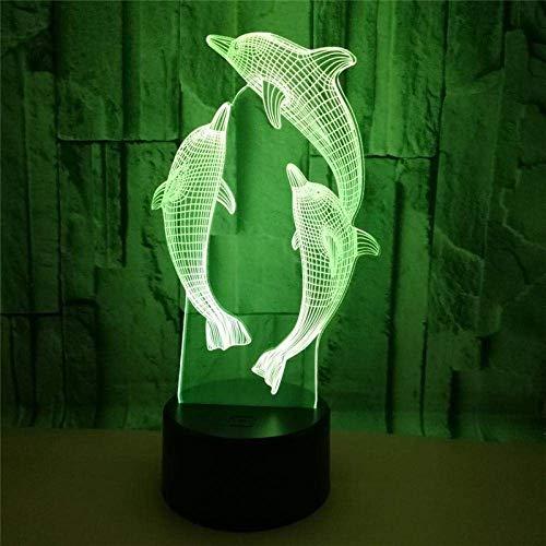 Luz De Noche Led 3D 7 Cambio De Color Dolphin Touch Switch Lámpara De Escritorio Regalo De Cumpleaños Para Niños Decoración Del Hogar Junto A La Cama