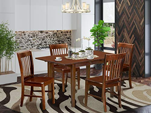 5 Pc small Kitchen Table set- Table with a 12in leaf and 4 Dining Chairs
