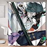 Cortina de ducha de tela Genshin Impact Games Roles Xiao vista lateral pintura arte cortina de ducha 48 x 72 pulgadas (123 x 183 cm)