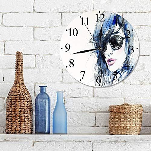 Silencioso Wall Clock Decoración de hogar de Reloj de Redondo,Urbano, mujer con gafas de sol y cabello azul dibujado a mano arte acuarela retrato, verde ,para Hogar, Sala de Estar, el Aula