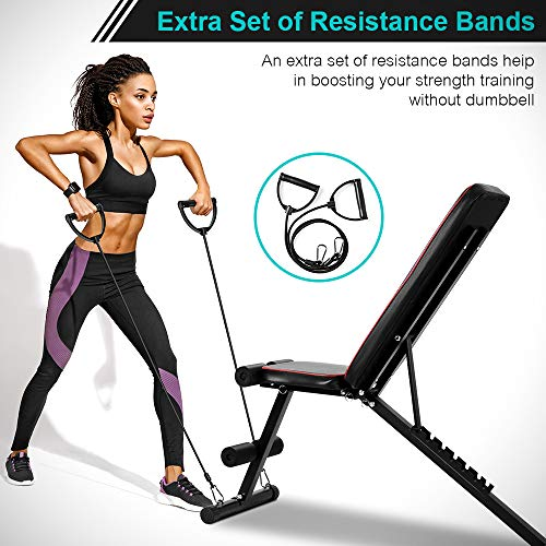 ONETWOFIT Adjustable Weight Bench, Foldable Workout Bench with Incline Decline Flat, Weight Lifting Sit Up Ab Bench for Full Body Exercise OT226