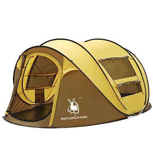 HUI LINGYANG Outdoor Instant 4-Person Pop Up Dome Tent -...