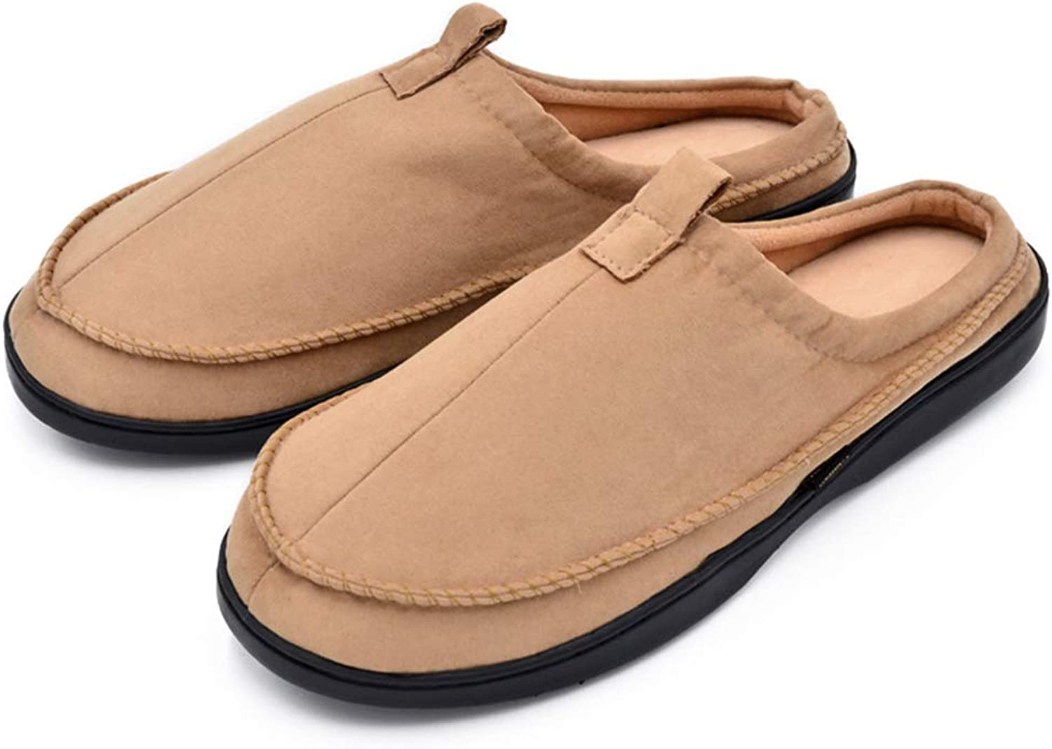 Newina Men's Suede Memory Foam Moccasin Slippers Ultra Soft Short Plush Lined Slip-on Indoor&Outdoor shoes,Anti-Slip Rubber Sole
