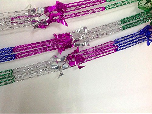 Set of 4 Christmas Foil Garland Ceiling Hanging Tinsel Xmas House Decoration