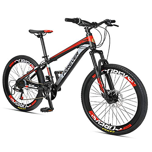 Xiaoyue Kinder-Mountainbikes, 24-Gang-Doppelscheibenbremse-Gebirgsfahrrad, High-Carbon Stahlrahmen, Jungen-Mädchen-Hardtail Mountainbike, Rot, 24 Zoll lalay (Color : Red, Size : 24 Inches)