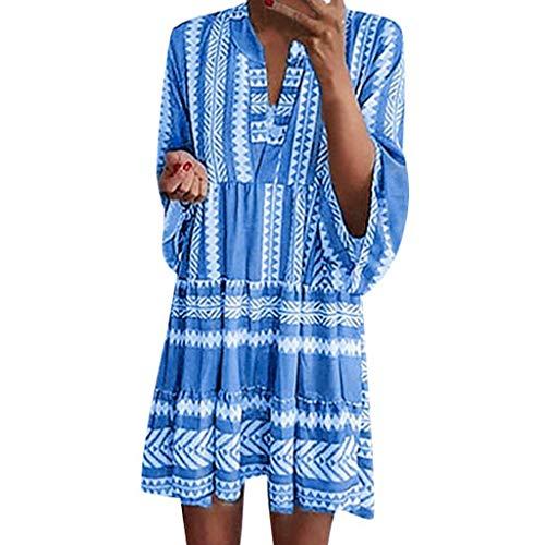 Lialbert Blumenmuster Boho Vintage Dame Freizeitkleid RüSchenäRmeln Kleider T-Shirt-Kleid HäNgerkleid Plissierter Minikleid RüSchen Hemd Rock Blau