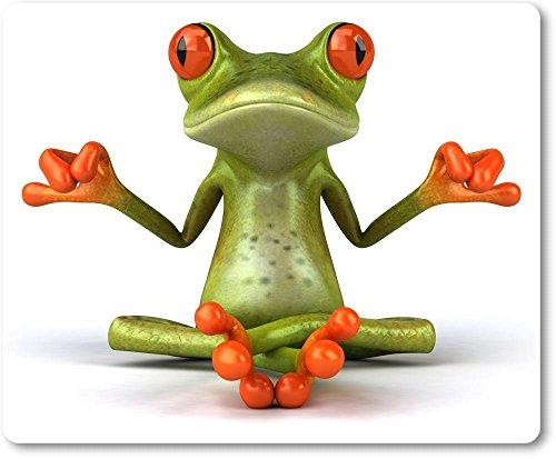Mauspad / Mouse Pad aus Textil mit Rückseite aus Kautschuk rutschfest für alle Maustypen Motiv: 3D Comic Frosch beim Yoga/Meditation [ 01 ]