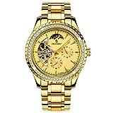 KONGWST Reloj mecánico Reloj astrológico Reloj de Banda de Acero: Todo Dorado
