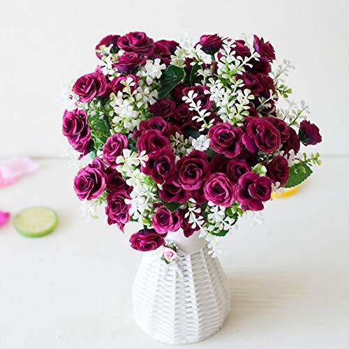 Flor Artificial en Florero 15 Cabezas De Flores Mini Rosas Escena De La Boda De Flores Artificiales De Diseño De Accesorios De La Flor Habitación Del Escritorio Del Hogar Decoración Falsos Que Viven F