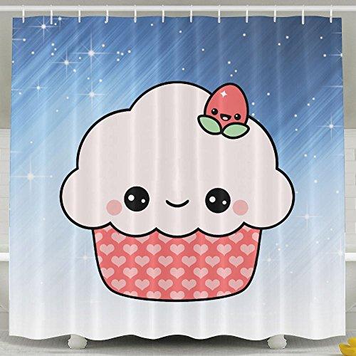 HUANGLING Süße Erdbeeren-/Cupcake-Duschvorhang, 152,4 x 182,9 cm
