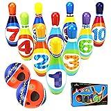 YIMORE Jeux de Quilles avec 2 balles en Mousse 10 Broches de Bowling Plein Air Jouet Cadeaux pour Enfants Garcon Fille 3 4 5 Ans (Set A)