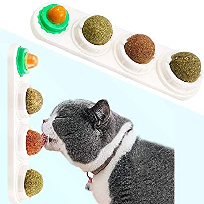 STARROAD-TIM Catnip Balls Catnip Toy for Cats Rotatable Edible Balls Natural Healthy Self-Adhesive Catnip Edible Balls Teeth Cleaning Catmint Toy for Cat from STARROAD-TIM