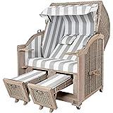 Strandkorb Landhaus Sylt Teak Vintage - robust und pflegeleicht, ideal für Ferienhausvermieter - Strandkorb der Extraklasse im Landhaus-Look -...